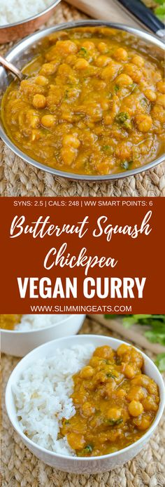 Slimming Eats Butternut Squash Chickpea Curry - dairy free, gluten free, vegan, Slimming World and Weight Watchers friendly astuce recette minceur girl world world recipes world snacks Slimming World Vegetarian Recipes, Vegan Slimming World, Slimming Eats, Slimming World Recipes, Vegetarian Meals, Curry Recipes, Veggie Recipes, Indian Food Recipes, Cooking Recipes