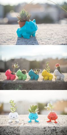 Bulbasaur planters by Anqi Chen | Pokemon // 3D printing // home decor // creative planters