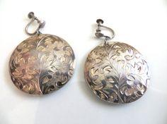Round Silver Earrings Drop Earrings by VintageShoppingSpree, $49.00