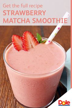 This mouthwateringly delicious Strawberry Matcha Smoothie is perfect for leaving you feeling full and satisfied, for just 230 calories per serving! Plus, with only 4 ingredients, it's super easy to make. All you need is ¼ cup of Greek vanilla yogurt, 1 teaspoon of matcha powder, 1 can of DOLE® Pineapple Juice and 1-1/2 cups of frozen DOLE Sliced Strawberries. CLICK for the full recipe.