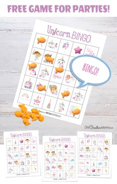 Unicorn bingo is such a fun idea for a kids birthday party! Get the free game here, and let the unicorn party fun begin! Bingo Games Free, Free Bingo Cards, Bingo Card Template, Templates Printable Free, Free Printables, Birthday Party Games, Unicorn Birthday Parties, Unicorn Party, Birthday Cards