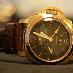 Panerai Hand made 18k Rose Gold Case, Brown Face, Brown Alligator Band-- caca033f4ed4