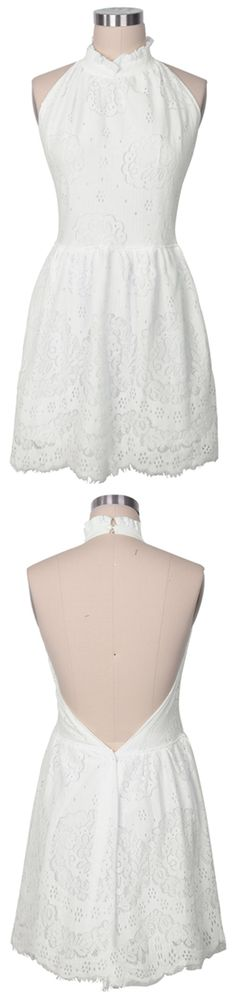 Expedited shipping-only 7 days for delivery. Free for orders over $80 (else US $8-13). There's nothing as intense as falling in love. Fluffy Cloud White Lace Dress features open back design and pure white with delicate pattern. Shop this look at Cupshe.com !
