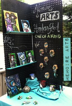 Spraypainting a peg board with blackboard paint makes it easy to change out display messages, and hang merchandise.