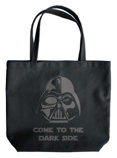 """Dark Side"" Tote Bag by Jessie Vasquez for Rudechix (Black) #InkedShop #DarthVader #StarWars #bag #tote"