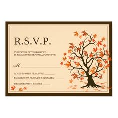 This Fall Wedding RSVP Card, features a beautiful tree illustration with colorful autumn leaves falling down. #Wedding #RSVP #Zazzle #Fall #Autumn