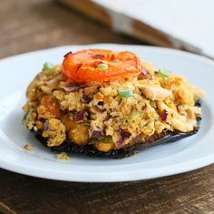 Portabella Mushrooms stuffed with Herbed Chickpeas. Vegan Recipe - Vegan Richa
