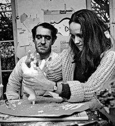 Jean Tinguely and Niki de Saint Phalle modelling a Nana at their home in Paris, 1966