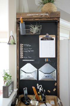 Industrial Command Center - perfect idea to organize your family schedules! Love the rustic touches :)