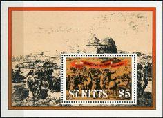 1982 Bicentenary of the Brimstone Hill Seige Souvenir Sheet St Kitts, Printer, Saints, Stamps, Movie Posters, Art, Souvenir, Seals, Art Background