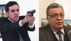 Ruský veľvyslanec v Turecko Andrej Karlov (vpravoa) a 22- ročný atentátnik
