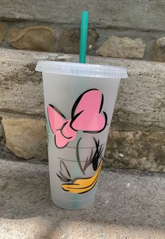 Excited to share this item from my #etsy shop: Personalized Starbucks Venti Tumbler, Cold Cup, Daisy Duck, Starbucks Tumbler, Disney Inspired, Custom Starbucks Tumbler,
