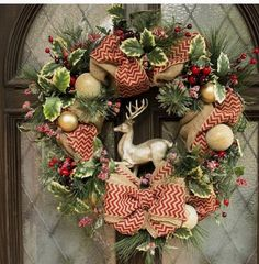 Christmas burlap wreath with deer