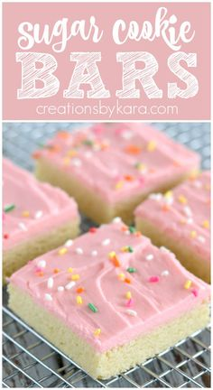 Best Ever Sugar Cookie Bars- all the flavor of sugar cookies without all the work! #sugarcookiebars #sugarcookiebarswithcreamcheesefrosting #sugarcookiebarswithalmondextract #creationsbykara #bestsugarcookiebars Best Cookie Recipes, Snack Recipes, Dessert Recipes, Bar Recipes, Family Recipes, Cooking Recipes, Easy Chocolate Desserts, Easy Desserts, Delicious Desserts
