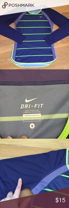 Nike Dri-Fit Long Sleeve Purple and lime green long sleeve top from Nike. Great for running or working out. Has some snags in the fabric but no holes or stains. One in the left sleeve and one on the right. Nike Tops Tees - Long Sleeve