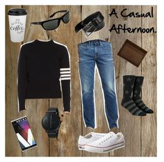 """""""A Casual Afternoon."""" by classic-erynn on Polyvore featuring Old Navy, Thom Browne, Converse, Stance, Skagen, Ray-Ban, HUGO, Huckle & Harper, men's fashion and menswear"""