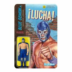Legends of Lucha Libre Blue Demon Jr ReAction Figure Luchador Mexican Wrestling 811169030810 Mexican Wrestler, Ric Flair, Action Poses, Vinyl Toys, Pirates Of The Caribbean, Reign, Action Figures, Pokemon, Wrestling