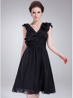 Cocktail Dresses - $135.99 - A-Line/Princess V-neck Knee-Length Chiffon Cocktail Dress With Ruffle Flower(s)  http://www.dressfirst.com/A-Line-Princess-V-Neck-Knee-Length-Chiffon-Cocktail-Dress-With-Ruffle-Flower-S-016021159-g21159