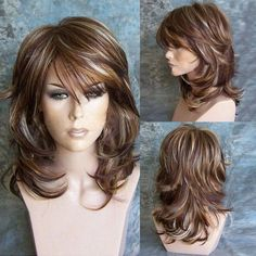 Medium Oblique Bang Highlighted Layered Slightly Curled Synthetic Wig, COLORMIX in Synthetic Wigs | DressLily.com