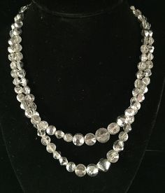 Very Unique Czech Faceted Crystal 2 Strand Vintage Necklace JP012 #None #Choker