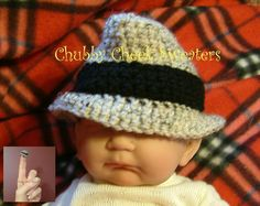 Fedora baby hat - Not gonna lie...it'd be cute to make little mafia looking baby hats... ;))