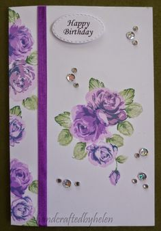 Handcrafted by Helen - love the vintage flowers and how she used the ribbon to split the card