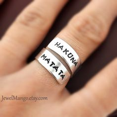 Hakuna Matata ring, Custom Ring, Personalized Ring, happy ring, Best friends gifts, Twist ring, wrapped ring, Adjustable ring by jewelmango. $15.90, via Etsy.