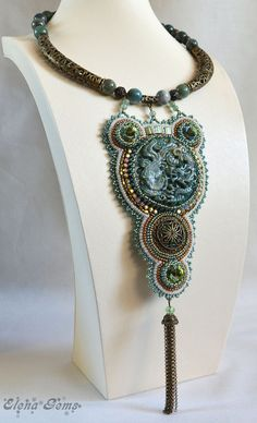 Bead embroidery necklace Bead embroidery Bead jewelry by ElenaGems