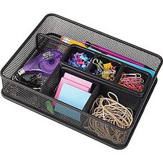 Wire mesh deep-drawer organizer in black color provides an upscale look at an economical price. Staples Wire mesh deep-drawer organizer in black color i. Desk Drawer Organisation, Desk Organizer Set, Small Bathroom Organization, Office Supply Organization, Drawer Organisers, Classroom Organization, Desk With Drawers, Desk Accessories, Design