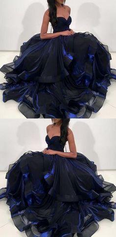 Navy Blue Organza Prom Dress,A-Line Sweetheart Sweep Train