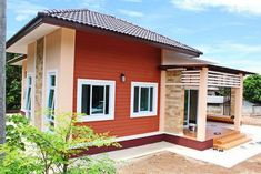 This tropical style one storey house design has 3 bedrooms, 2 bathrooms, 135 square meters total floor area. Proportion is the key in the layout, with the entry Small Bungalow, Modern Bungalow House, Bungalow Homes, Bungalow House Plans, Philippines House Design, One Storey House, Philippine Houses, Beautiful Small Homes, Looking For Houses