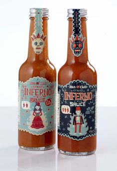 Inferno sauce – look at the relationship between the illustration on the main label and the illustrative elements on the neck label