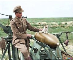 Post with 2170 votes and 6615 views. July 1918 - Kittens and shells: an officer of 444 Siege Battery, Royal Garrison Artillery (RGA), smokes a pipe as he supervises a kitten balancing on a 12 inch gun shell near Arras. World War One, First World, Laughing Face, Colorized Photos, No Photoshop, Military History, Military Men, Military Uniforms, Service Dogs