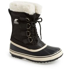 Women's Sorel 'Winter Carnival' Boot ($130) ❤ liked on Polyvore featuring shoes, boots, black, mid-calf boots, waterproof snow boots, waterproof boots, black mid calf boots, faux fur lined boots and black waterproof boots