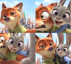 """Nick Wilde and Judy Hopps selfies """"Zootopia"""" - Go see it! READ: http://grown-up-disney-kid.tumblr.com/post/140429347699/zootopia-totally-worth-the-wait"""