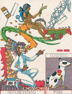 Mictlantecuhtli Itzcuintli arte original almanaque por MexicaHeart