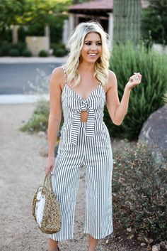 682f3452261c Erin Elizabeth of Wink and a Twirl shares this Mason Jar Boutique Striped  Jumpsuit with cutout and tie detail for summer style #shopthemasonjar  #jumpsuit ...