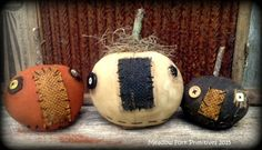Primitive Folk Art Set of 3 Pumpkin Shelf Sitters-Cupboard Tucks-Fall-Halloween-Autumn-Hafair team, Faap by MeadowForkPrims on Etsy