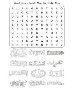 Word Search Puzzle Months of the Year