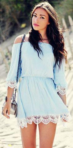 Strapless Crochet Details Little Dress #Fashionistas
