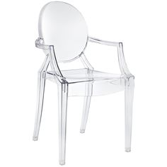 Philippe Starck Style Louis Ghost Chair in Clear EEI-121-CLR by LexMod