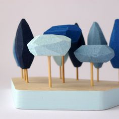 Miniature tabletop forest in shades of blue. Small by FRAGILE taller #centerpiece #homedecor
