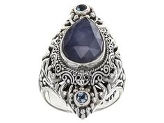 Artisan Gem Collection Of Bali(Tm) Blue Sapphire Triplet And .20ctw Swiss Blue Topaz Silver Ring
