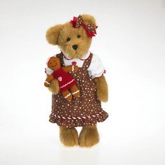 The holidays are always sweeter when shared with a friend!  Meet Candy B. Gingerbeary and her cute lil' gingerbread cookie friend.  From the holiday Gingerbeary collection, Candy stands 14-inches tall and is crafted in custom-blended gold plush fabric.
