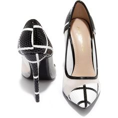 Grid Strides Black and White Pointed Pumps ($36) ❤ liked on Polyvore featuring shoes, pumps, stiletto pumps, high heel pumps, pointy toe stilettos, pointy-toe pumps en pointed toe shoes