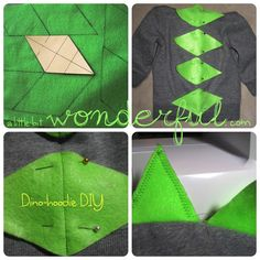 I finally have my first nephew and have been just dying to make him a cute little outfit. With Halloween right around the corner, this seemed to be the perfect time to make him a dino-hoodie. Diy Dinosaur Costume, Dinosaur Party, Dinosaur Birthday, Costume Carnaval, Hallowen Costume, Sewing For Kids, Diy For Kids, Halloween Kids, Halloween Crafts