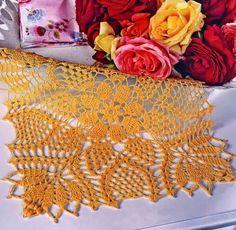 Crochet Art:  Beautiful square crochet lace mat pattern