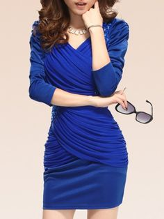 Attractive Puff Sleeve Beading Pleated Bodycon-dress Bodycon Dresses from fashionmia.com