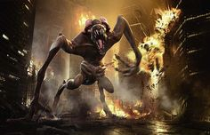 The Cloverfield monster is said to be a newborn flailing at it's surroundings ...
