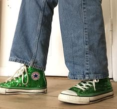 Thrifted green sequin converse all stars on We Heart It Converse Shoes Outfit, Sequin Converse, Green Converse, Sock Shoes, Cute Shoes, Me Too Shoes, Aesthetic Shoes, Aesthetic Clothes, Aesthetic Boy